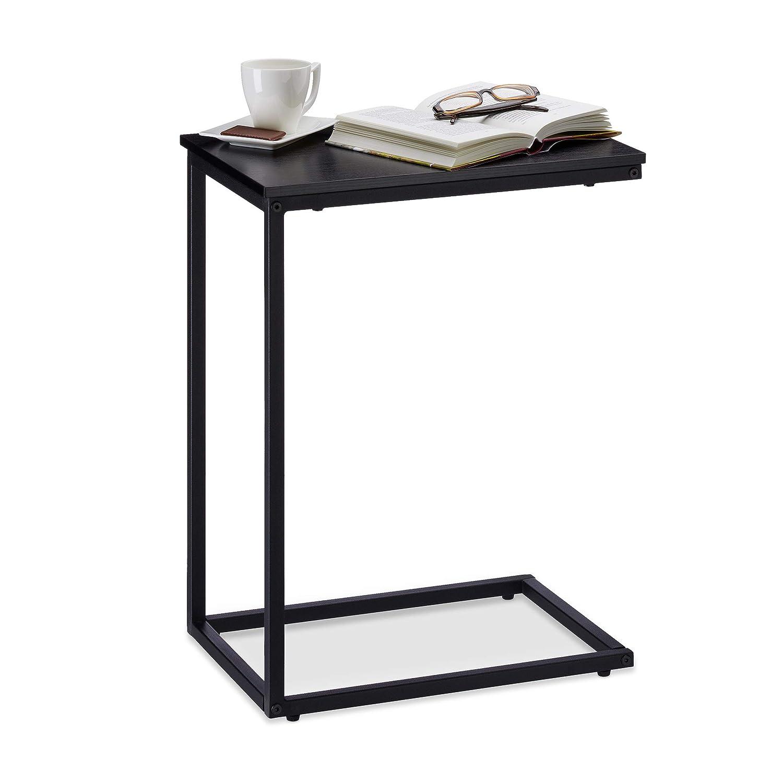 Relaxdays Beistelltisch schwarz, Metallgestell, robust, Melaminplatte, Dekotisch, u-förmiger Couchtisch 60cm hoch, Black 10023144