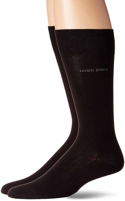 Hugo Boss Men's 2-Pack Solid Mercerized Cotton Dress Sock, Black 7-13 50389314