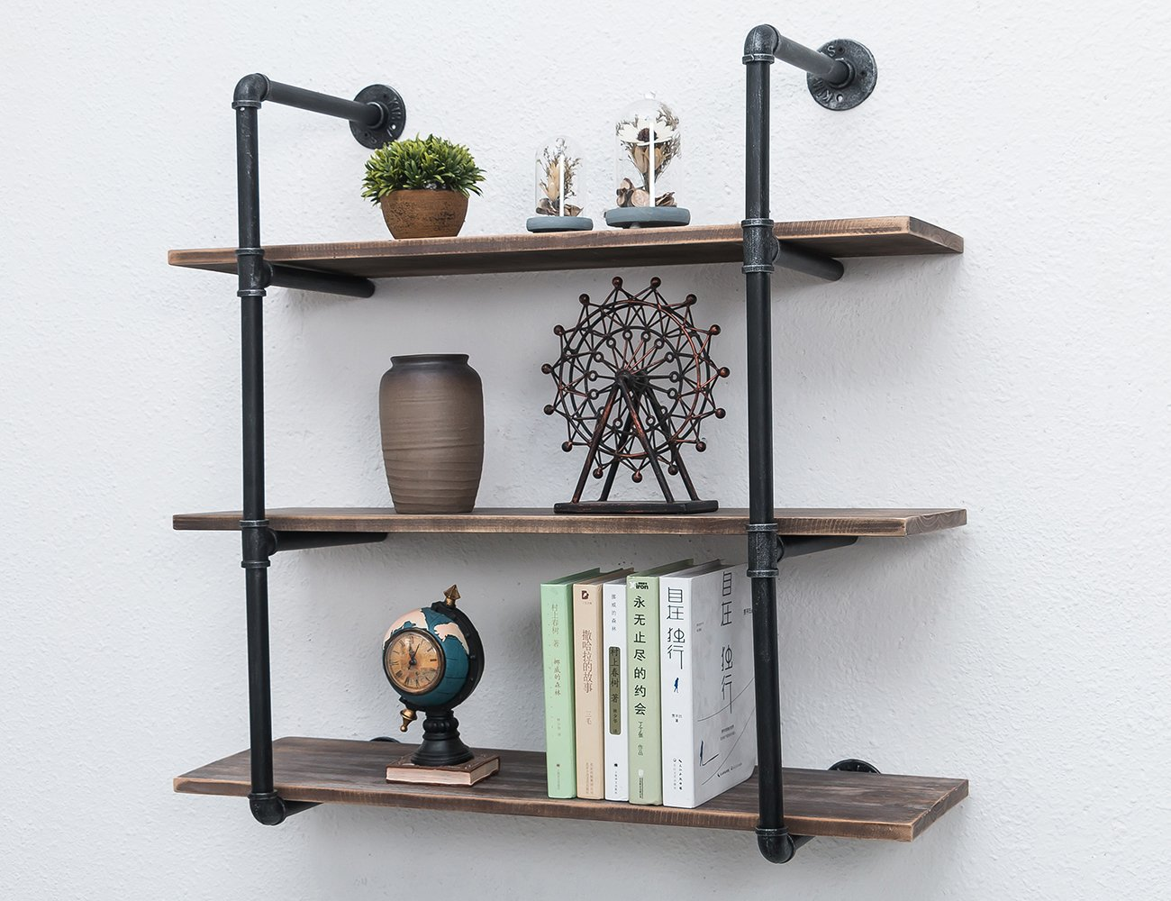 MBQQ Industrial Iron Pipe Shelf DIY with Wood 36.2in Retro Storage Book Shelves Wall Mounted Shelving Hung Bracket 3-Shelf Organizer 3