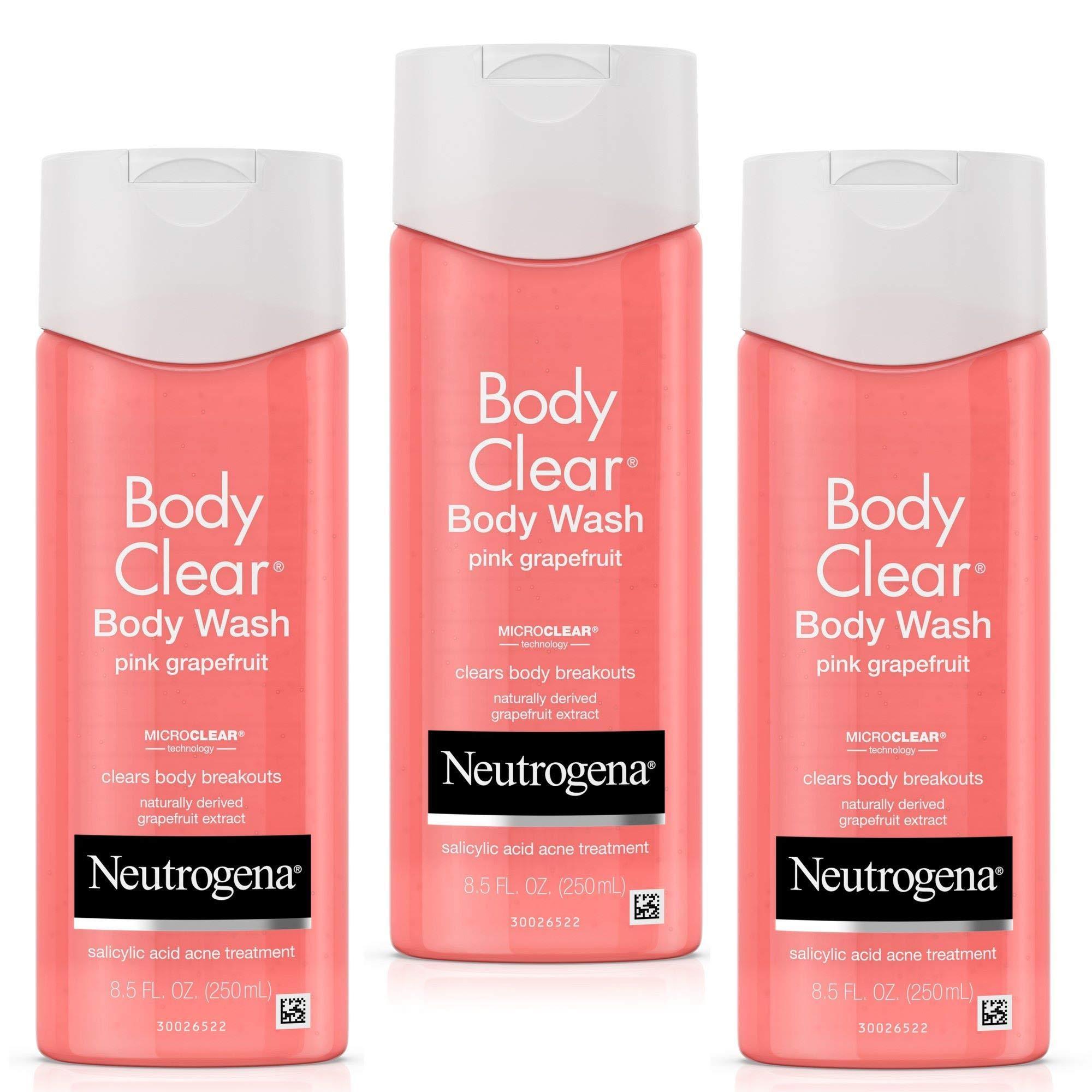 Neutrogena Body Clear Acne Treatment Body Wash with Salicylic Acid Acne Medicine to Prevent Body Breakouts, Pink Grapefruit Salicylic Acid Acne Body Wash for Back Chest & Shoulders, 8.5 fl.oz (3 Pack) by Neutrogena