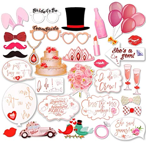 23pcs//Set RoseGold Hen Party Photo Booth Props Funny Wedding Bridal Shower