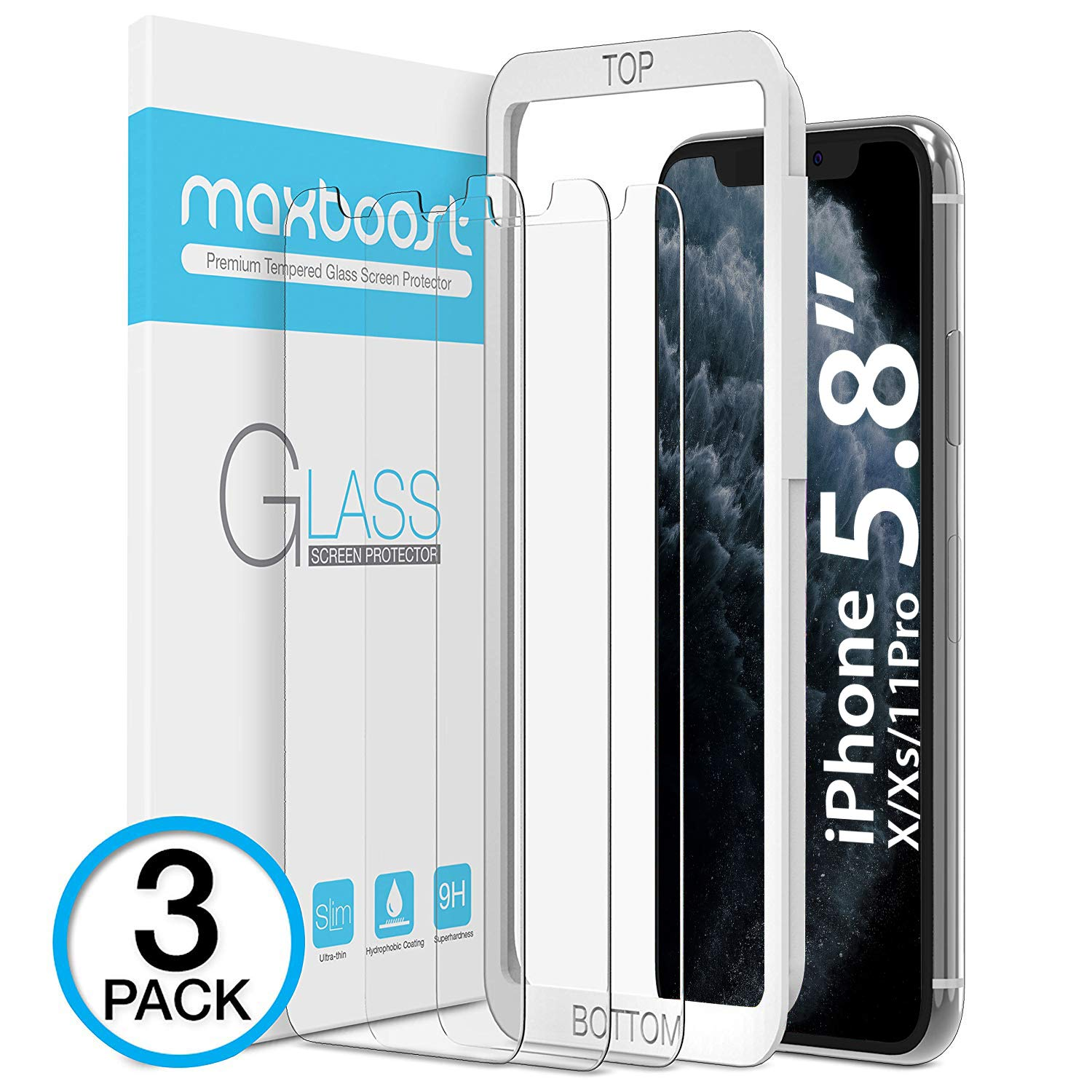 Maxboost Screen Protector for Apple iPhone Xs & iPhone X & iPhone 11 Pro (Clear, 3 Packs) 0.25mm Tempered Glass Screen Protector with Advanced Clarity [3D Touch] Work w/Most Case 99% Touch Accurate by Maxboost