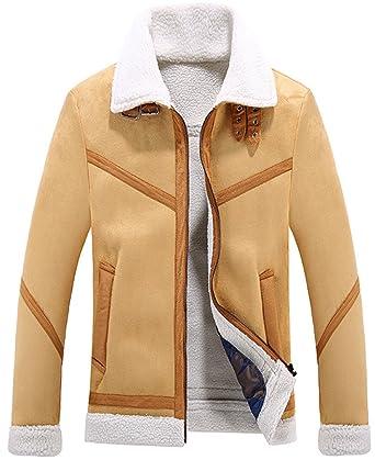 c6002ee3b3d38 K3K Men s Winter Warm Fashion Luxury Real Suede Leather Fur Coat Jacket  Lamb Wool Lining Outdoor