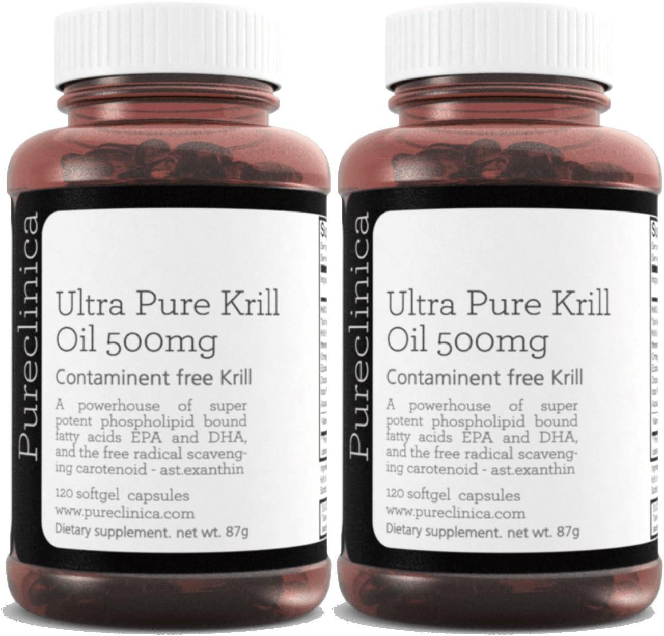 Aceite de Kril Aker Ultra Puro 500mg x 240 cápsulas (2 frascos) - de las limpias aguas del Antártico que dan un rico suministro de Astaxantina, Omega 3, y Vitamina D. SKU: KRI500