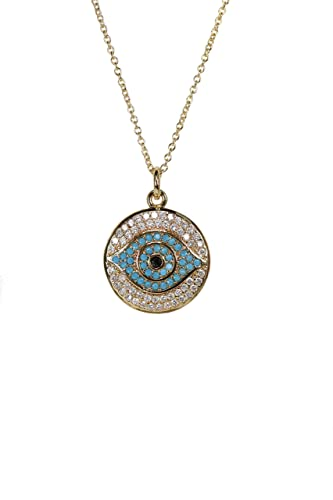 Evil Eye Disc Pendant With Personalized Birthstone