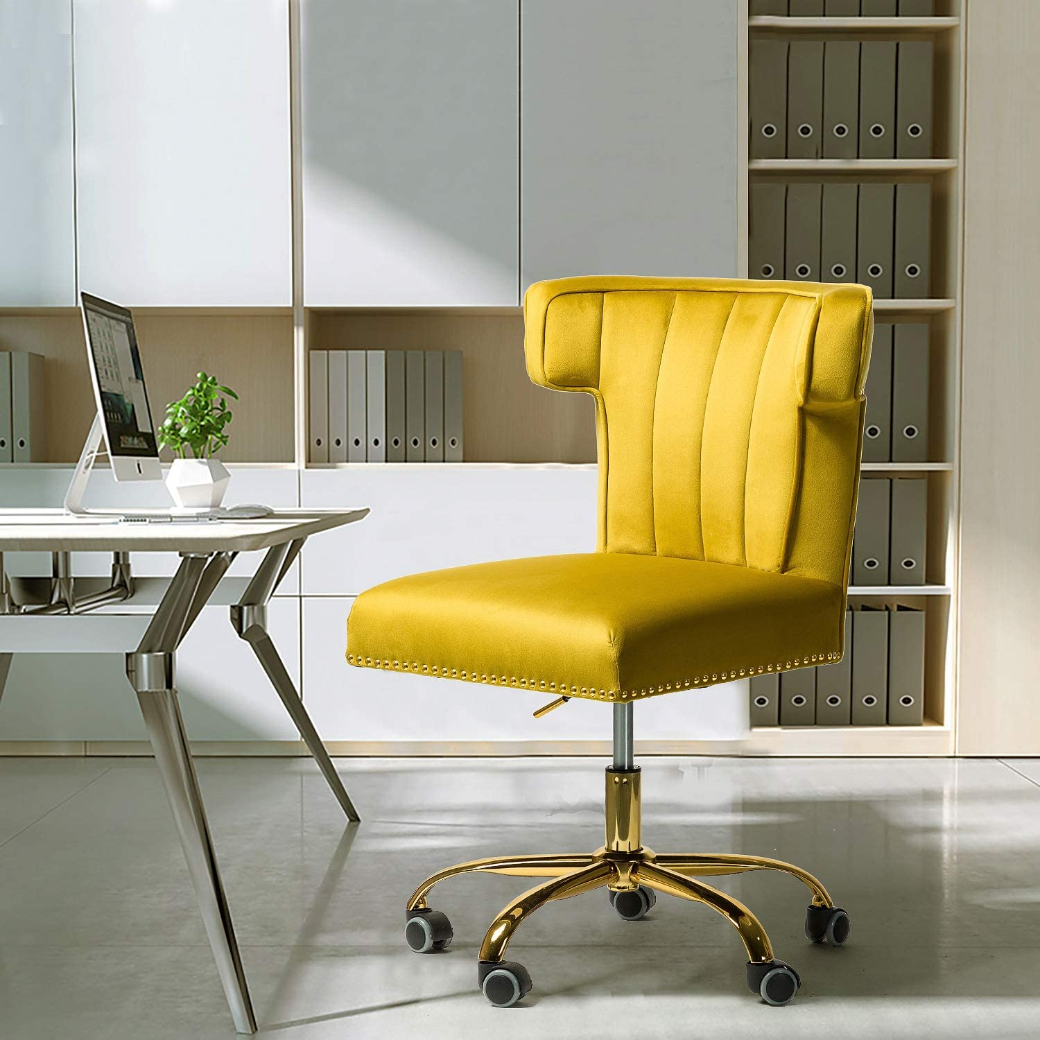 Alla Velvet Wingback Task Chair with Gold Base and Nailhead for Home Office-Mustard