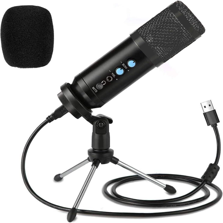 Kdely Microfono per PC Professionale Condensatore Computer Gioco Mic Volume Regolabile Microfono USB con Treppiede e 3,5 mm Jack per Windows//Mac//Registrazione//Podcast//Youtube//Streaming