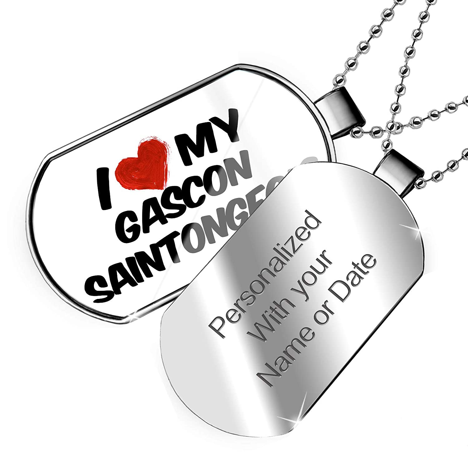 NEONBLOND Personalized Name Engraved I Love My Gascon Saintongeois Dog from France Dogtag Necklace