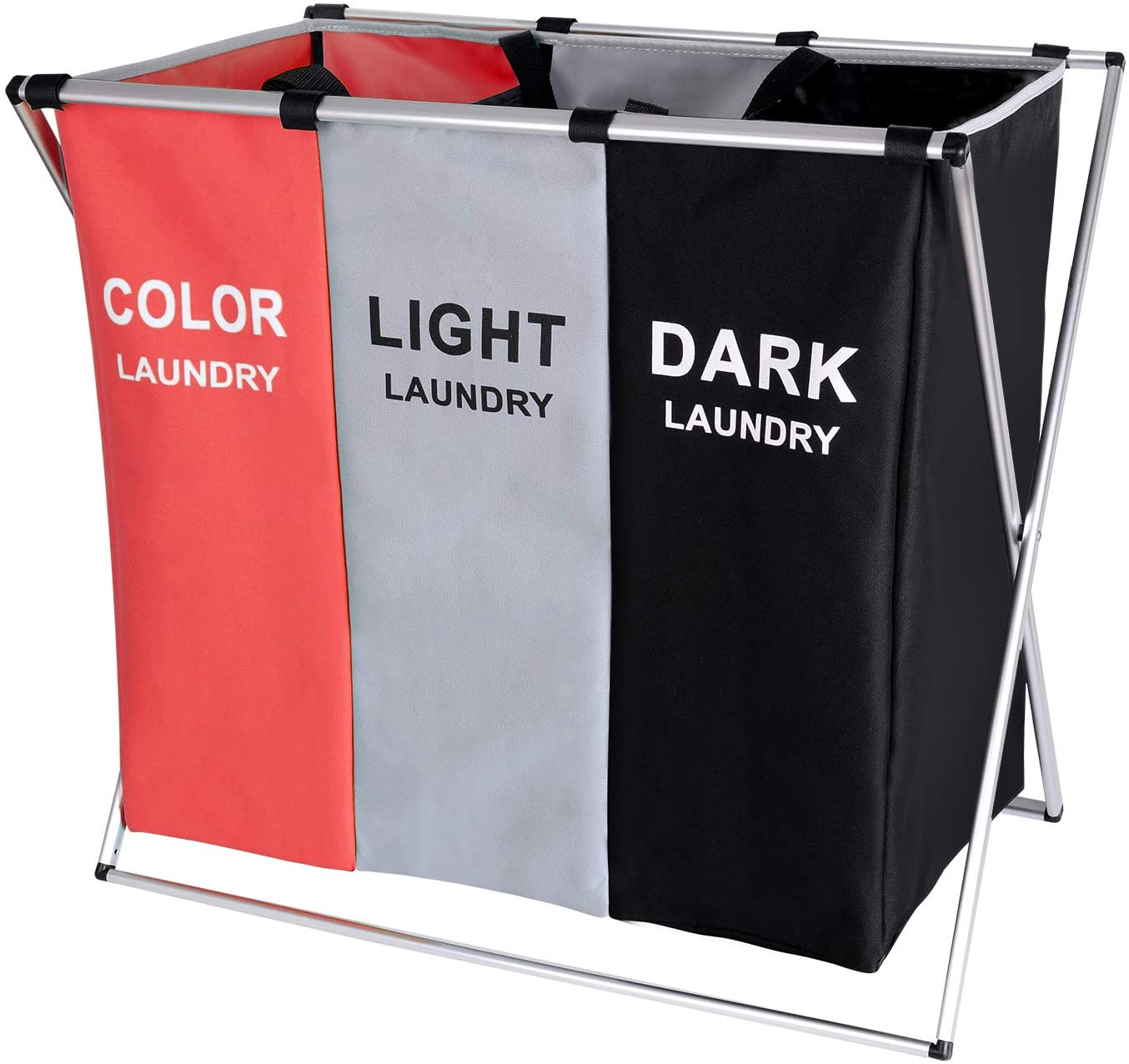 BRIGHTSHOW 135L Laundry Cloth Hamper Sorter Basket Bin Foldable 3 Sections with Aluminum Frame 62cm × 37cm x 58cm Washing Storage Dirty Clothes Bag for Bathroom Bedroom Home (Red+Grey+Black)
