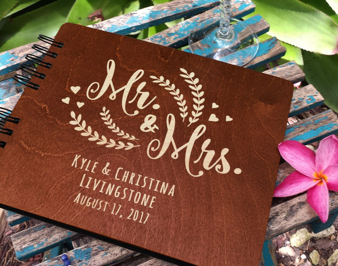 Personalized Wedding Guest Book Mr Mrs Wooden Rustic Vintage Bridal Black Mahogany Oak or Cocoa Unique Wood Hardcover Finish Options by Weddings-by-StockingFactory (Image #5)