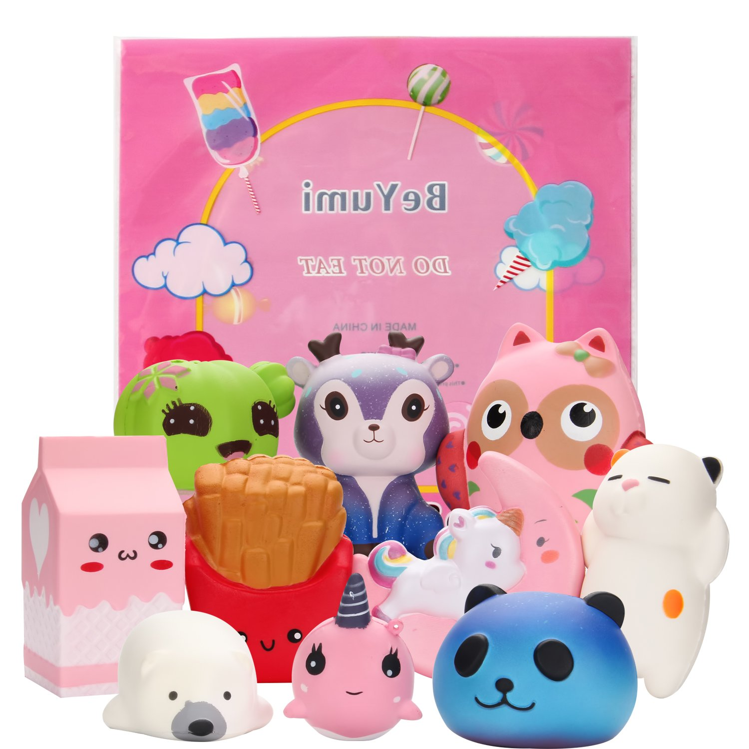 BeYumi Slow Rising Toy, Unicorn, Panda, Deer, Cat Squishy Toy, Kawaii Jumbo 10 Pcs Cream Scented Simulation Cute Animal & Food Squeeze Toys for Collection Gift, Decorative props Large or Stress Relief by BeYumi (Image #2)