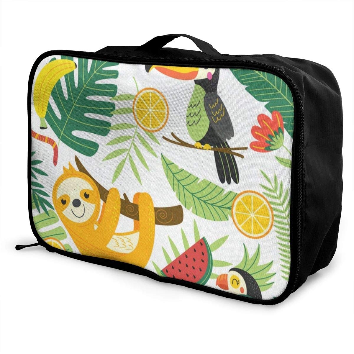 Travel Bags Tropical Palm Leaf Lead Red Floral Flower Portable Duffel Special Trolley Handle Luggage Bag