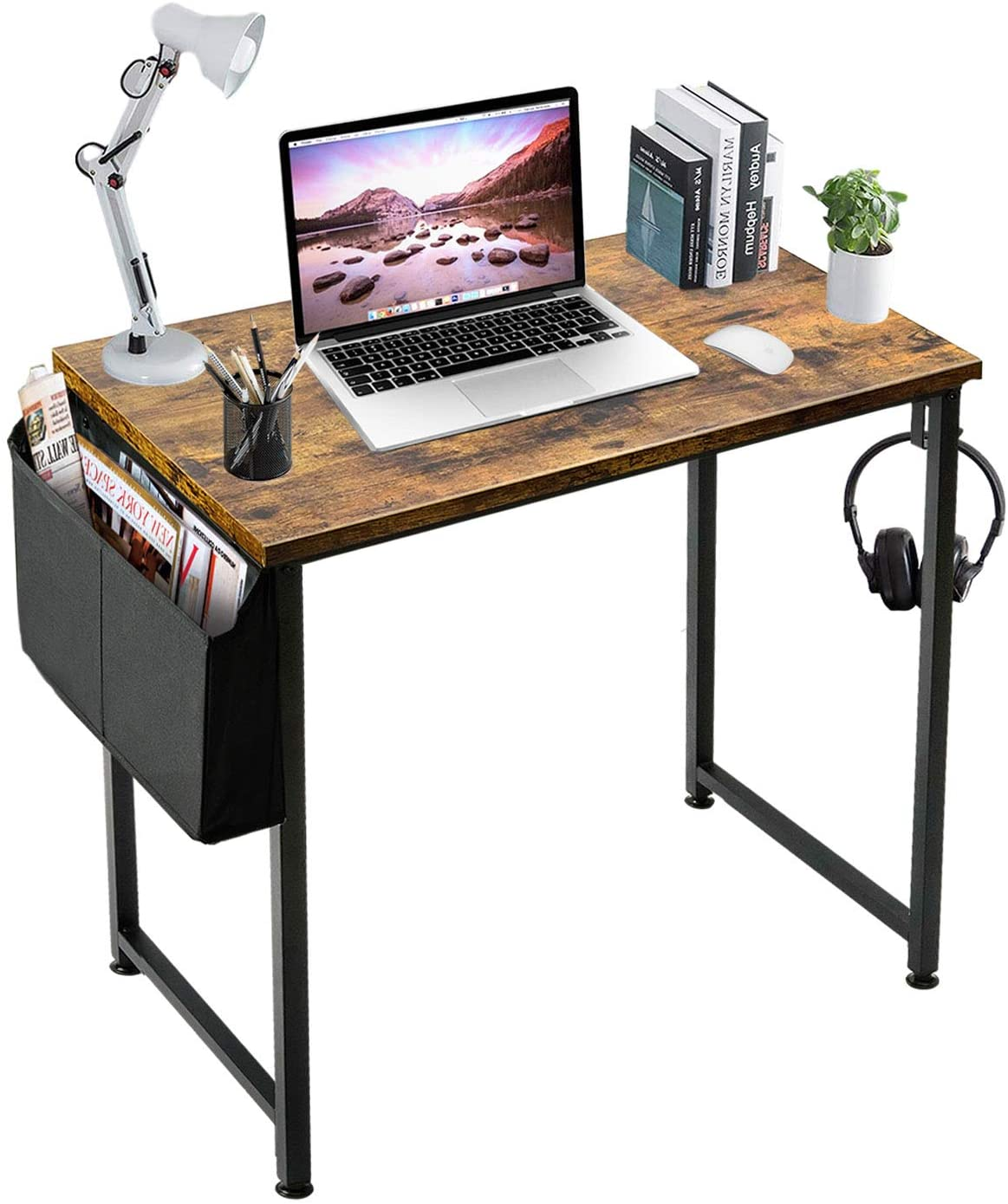 Small Computer Desk Study Table for Small Spaces Home Office 31 Inch Rustic Student Writing Des with Storage Bag,Brown