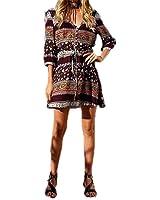 Twilaisaac Fashion dress mulheres floral print tribal bohemia dress sexy v profundo mini beach dress solto