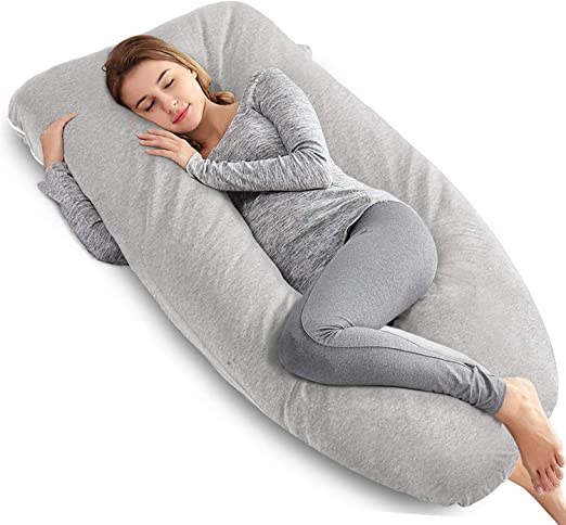 AngQi Full Body Pregnancy Pillow with Gray Jersey Cover U Shaped Body Pillow with Detachable Extension for Pregnant Women and Side Sleeping