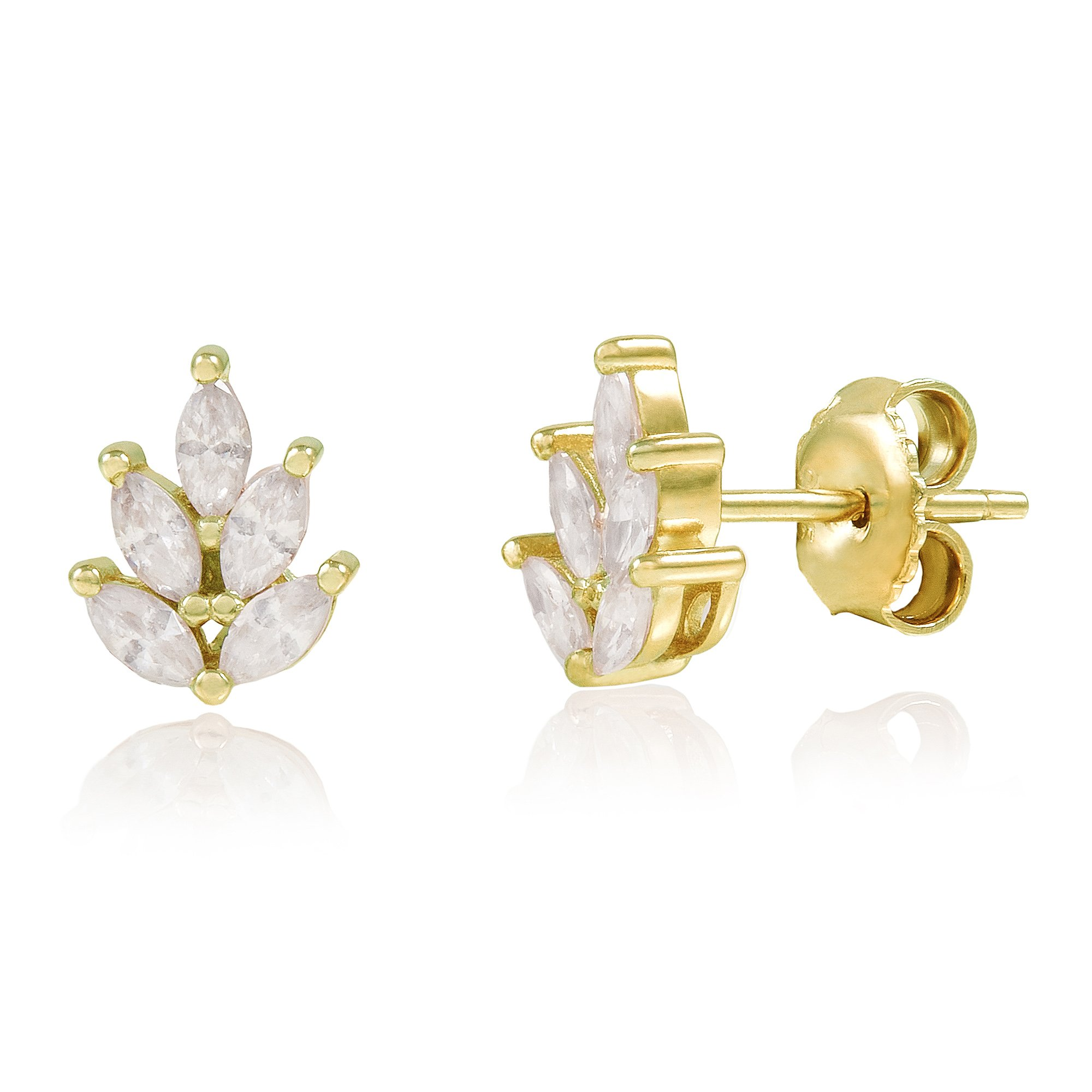 Yellow Gold Plated Sterling Silver Leaf Marquise Cubic Zirconia Stud Earrings
