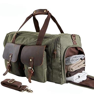 1a0dc23823b MEWAY Travel Overnight Bag Canvas Duffel Bag Oversized Luggage Bag Large  Handbag for Men Women (