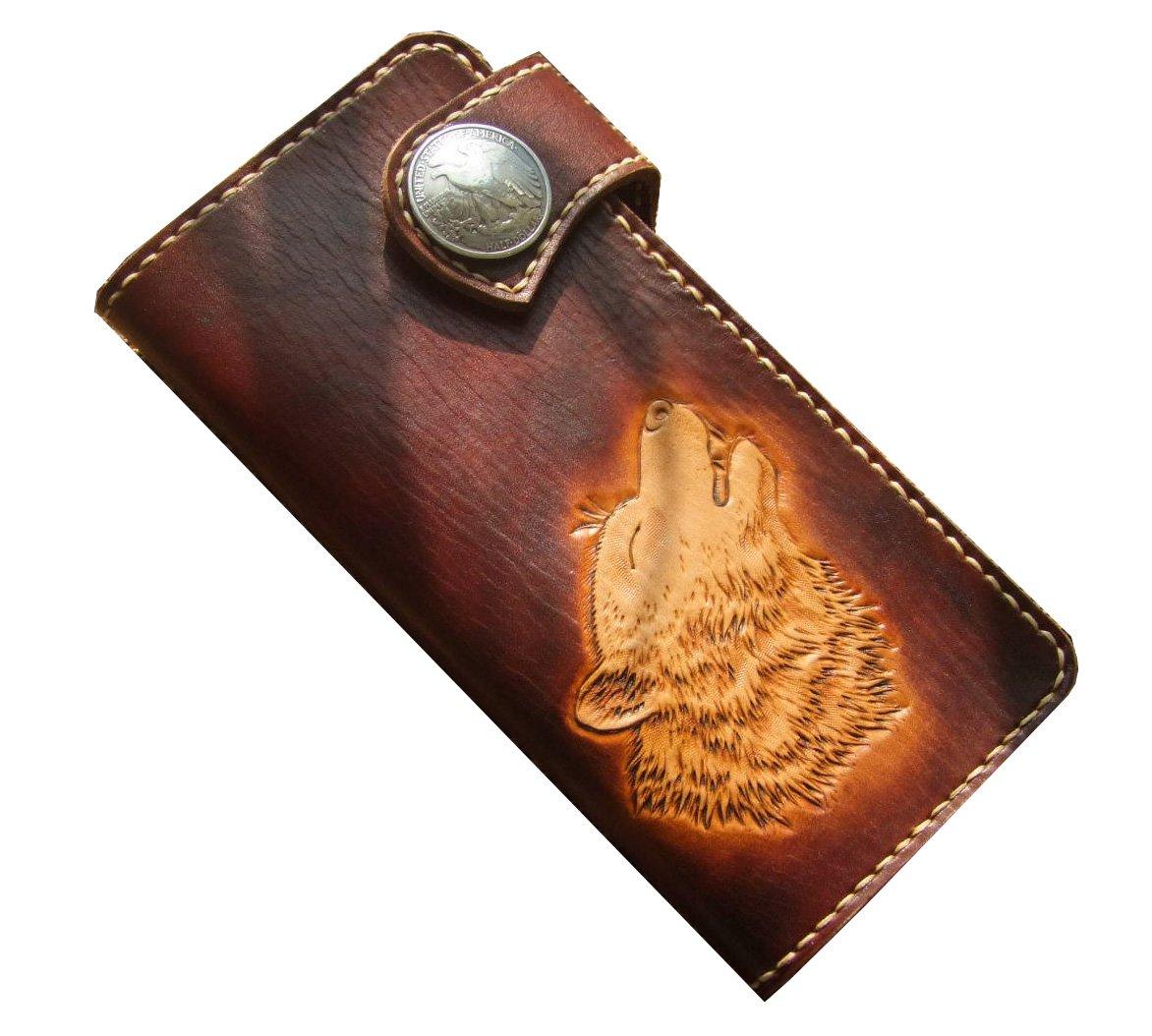 GPUFashion Handmade Clutch Wallet Leather Carft Wolf