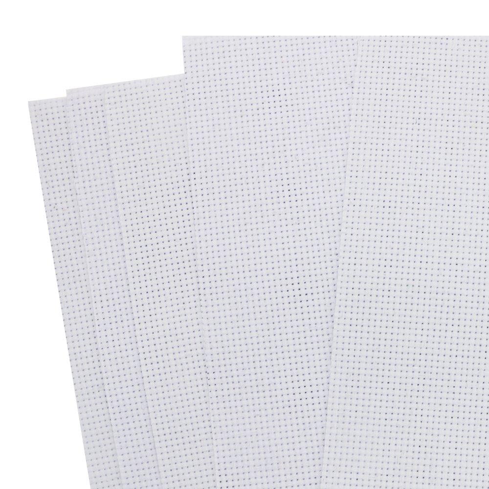 PRALB 6 PCS Reserve Aida Cloth Cross Stitch Cloth,14 Count,12 by 18 InchWhite