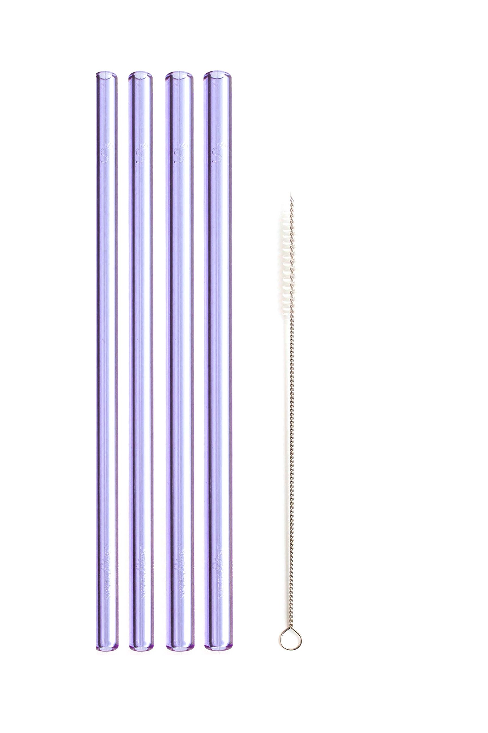 Simply Straws Straight 2 Classic & 2 Wide 8''+ Brush (Amethyst) by Simply Straws