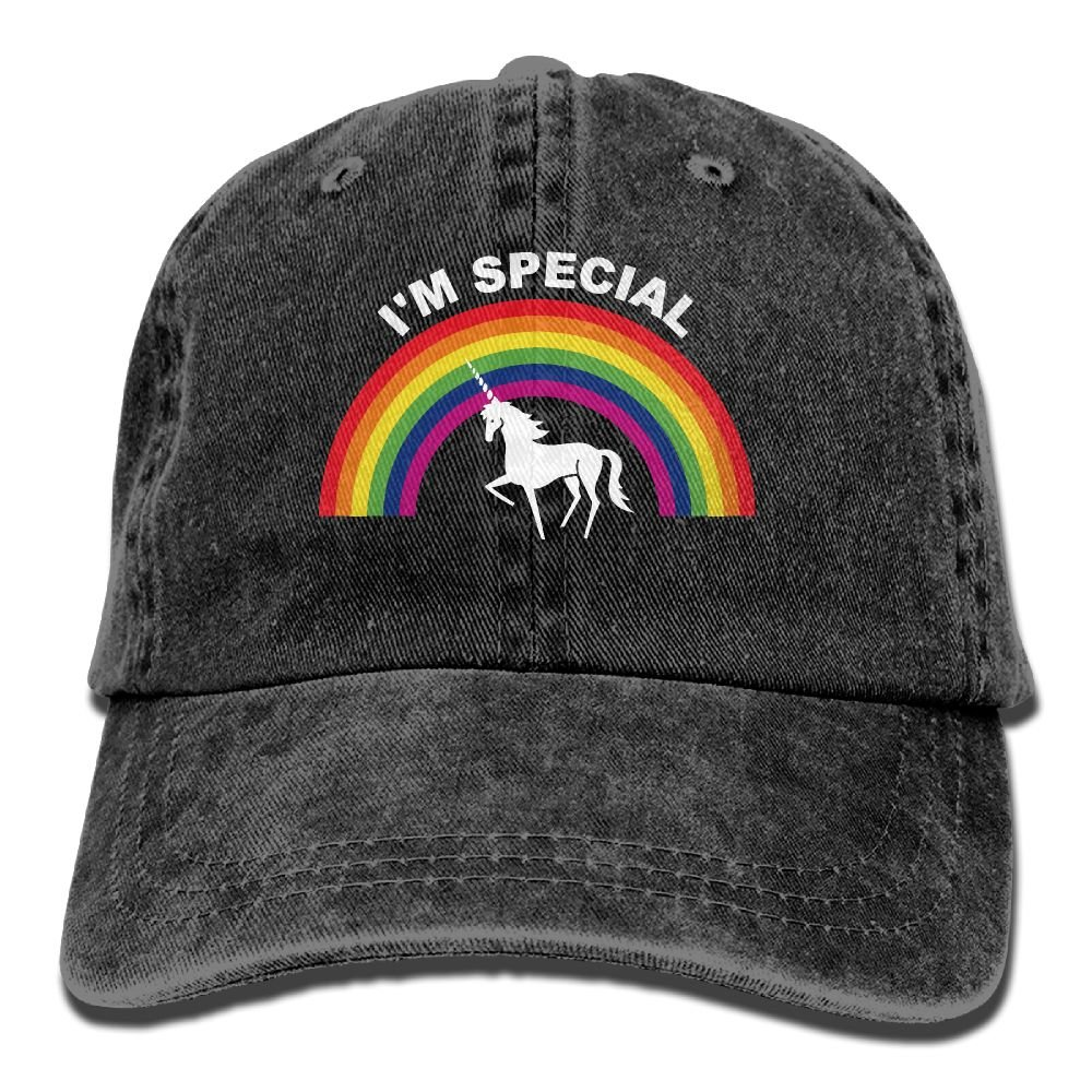 Rainbow Unicorn Horse Trend Printing Cowboy Hat Fashion Baseball Cap for Men and Women Black