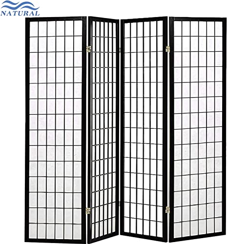 Room Divider 4 Panel Folding Privacy Screen 70Inches High 17Inches Wide Room Divider for Living Room Bedroom Study,Black and White