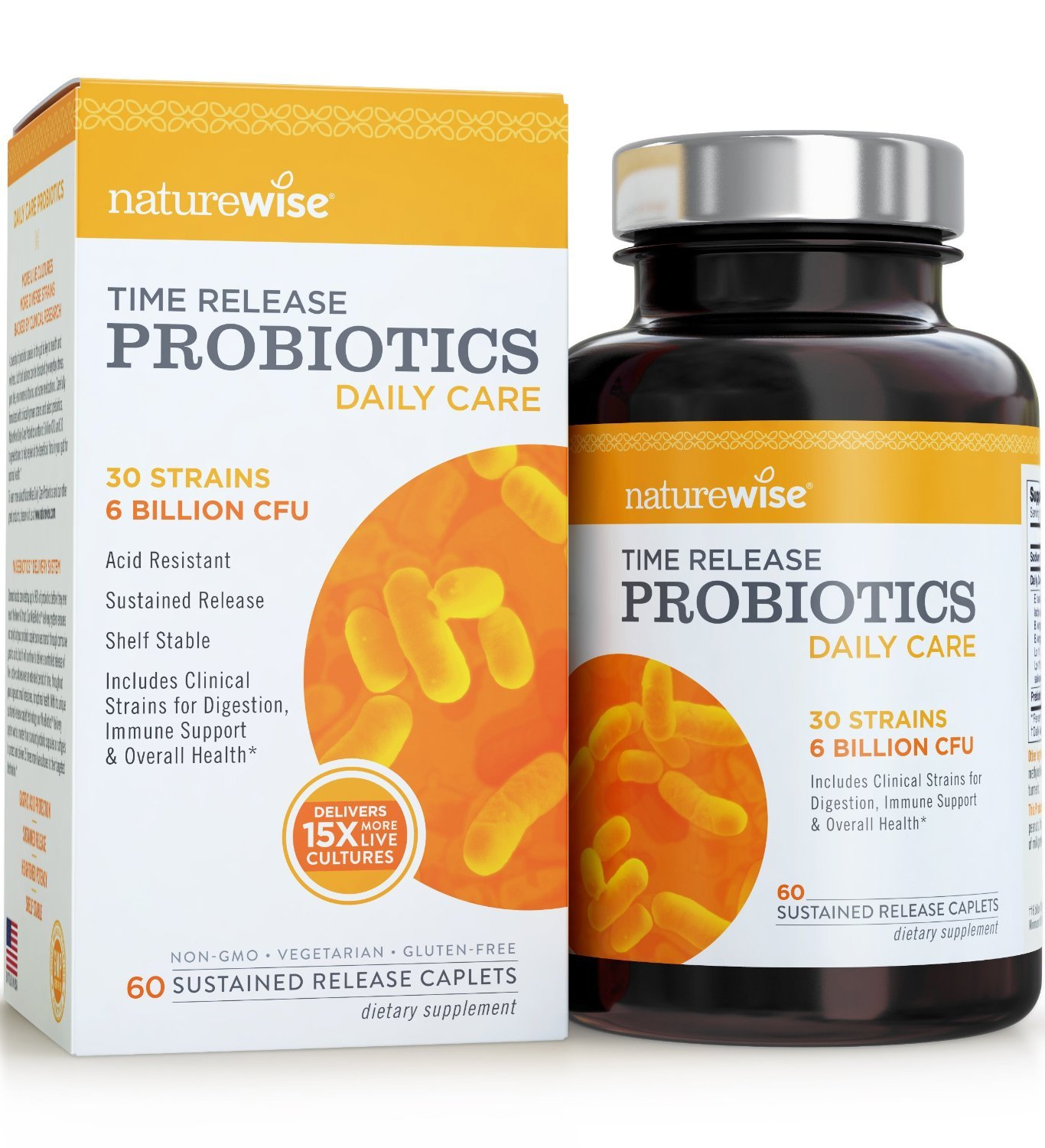 NatureWise Daily Care Time-Release Probiotics: Comparable to 90 Billion CFU, Delivers 15x More Live Cultures to Intestines for Digestion & Immune Support, Shelf Stable, Acid Resistant, 60 Caplets