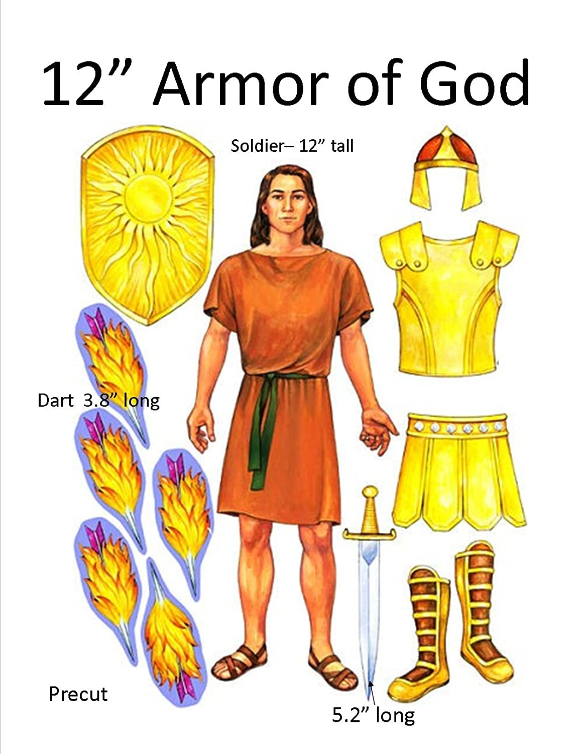 amazon com armor of god felt set for flannel boards 12