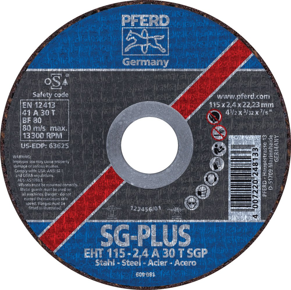 Aluminum Oxide A 7//8 Bore 13300 Max RPM 4-1//2 Diameter x 3//32 Thickness PFERD 63625 Flat Cut-Off Wheel Type 1 Pack of 25 4-1//2 Diameter x 3//32 Thickness 7//8 Bore PFERD Inc.