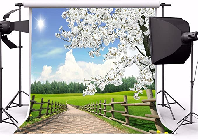 AOFOTO 5x5ft Spring Farm Scenery Photography Background Blossom Flower Tree Backdrop Rural Fence Walkway Grass Lawn Sunny Blue Sky Park Outdoor Natural Landscape Photo Studio Props Kid Baby Portrait