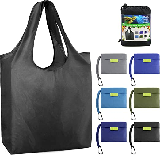 10PCS Foldable Grocery Shopping Bags Foldable and Reusable Assorted Colors BY