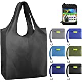 BeeGreen Reusable Grocery Bags Foldable Shopping Bag Large 50LBS Reusable Tote Groceries Bags with Pouch Bulk 6 Pack…