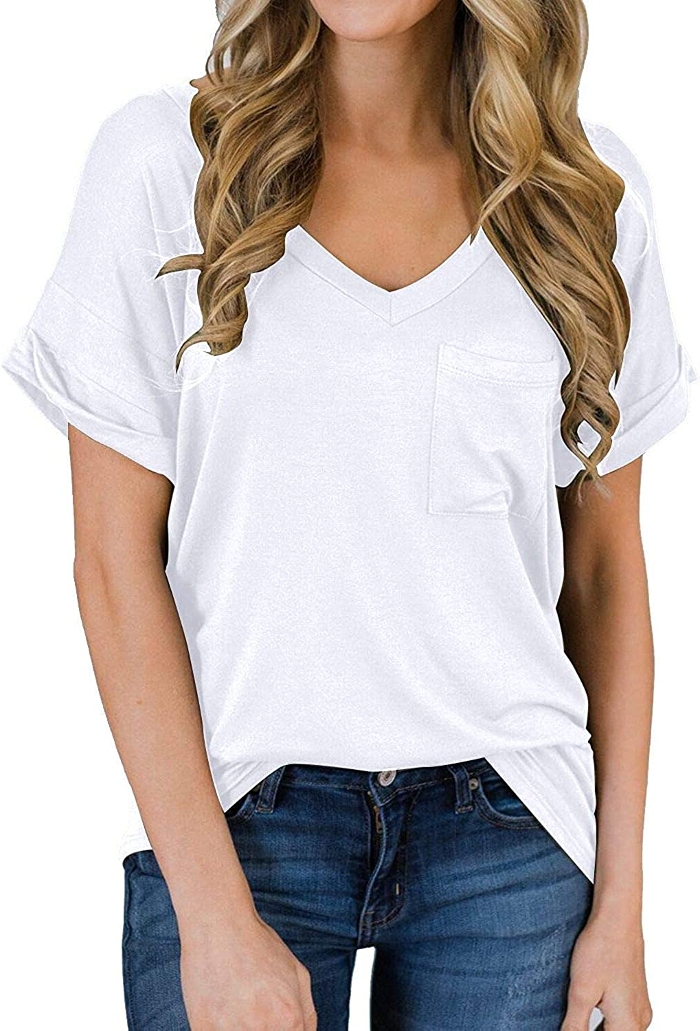 Fashion V-Neck T-Shirts for Women Loose Short Sleeve Hollow Top Tee