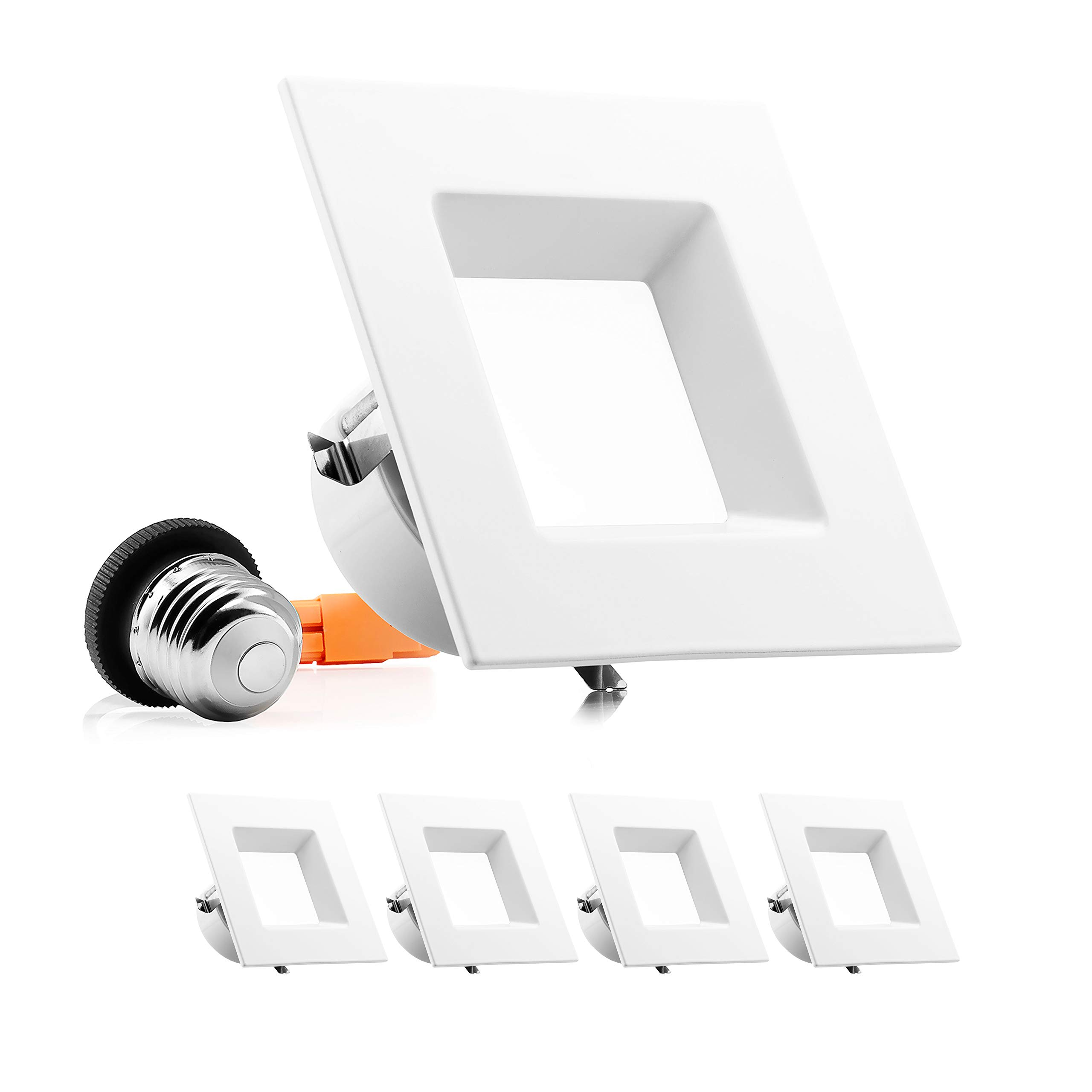 Parmida (4 Pack) 4 inch Dimmable LED Retrofit Recessed Downlight, 10W (60W Replacement), Square Trim, 5000K (Day Light), 630LM, ENERGY STAR & ETL, LED Ceiling Can Light Fixture