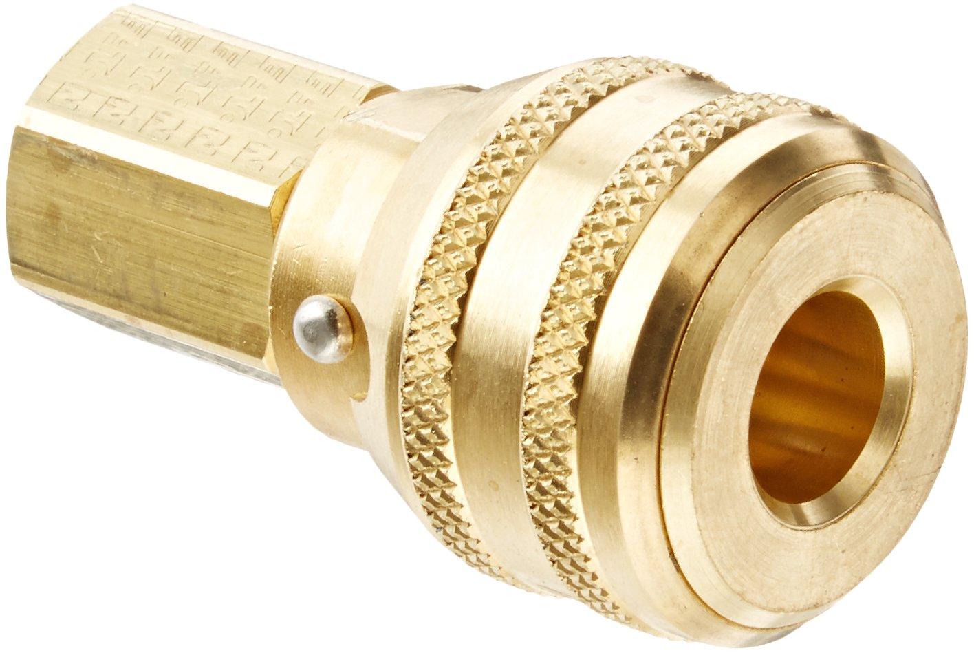 1//4 Body 1//4-18 NPTF Female Sleeve Lock Socket with Brass Valve Fluorocarbon Seal 1//4 Port Size Eaton Hansen 3000BVSL143 Brass ISO-B Interchange Pin Lock Pneumatic Fitting