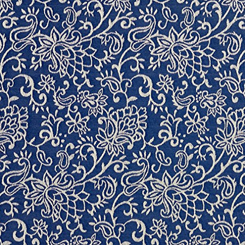 - B600 Navy Blue Contemporary Floral Jacquard Woven Upholstery Fabric By The Yard