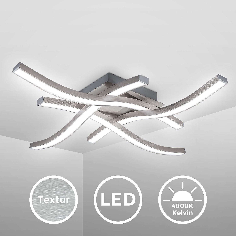 B.K.Licht Elegant Curved Design LED Ceiling Light Neutral White Light 4000K Modern Ceiling Fixture for Living Rooms and bedrooms 230V IP20 4 Built-in LED Boards Included 20W 2.000Lm