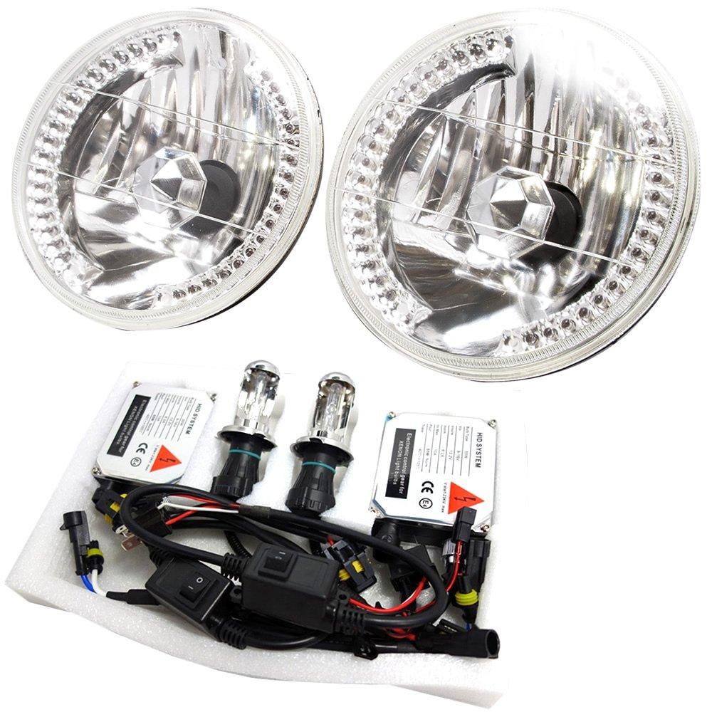 K100系 ミゼットII 36発 LEDリング 7インチ 丸型ヘッドライト 2個 ●HIDセット 35W 12000K B07331HXXH