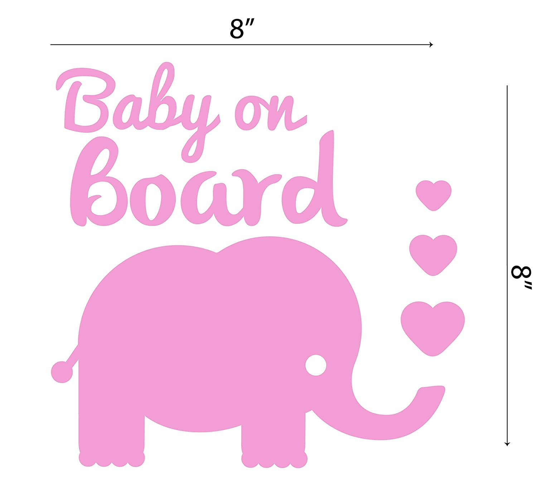Baby On Board Car Sticker Waterproof Pink Elephant Window Decal