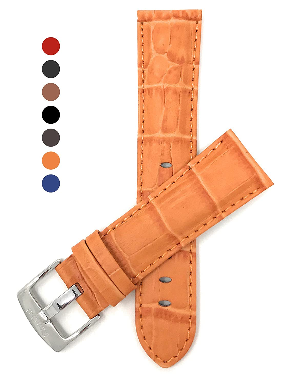 18 mm – 26 mm Mens ' Alligatorスタイル本革時計ストラップバンド、Comes inブラック、ブラウン、ブルー、レッド、タンとダークタン 22MM オレンジ B079YVTVJX 22MM|オレンジ オレンジ 22MM