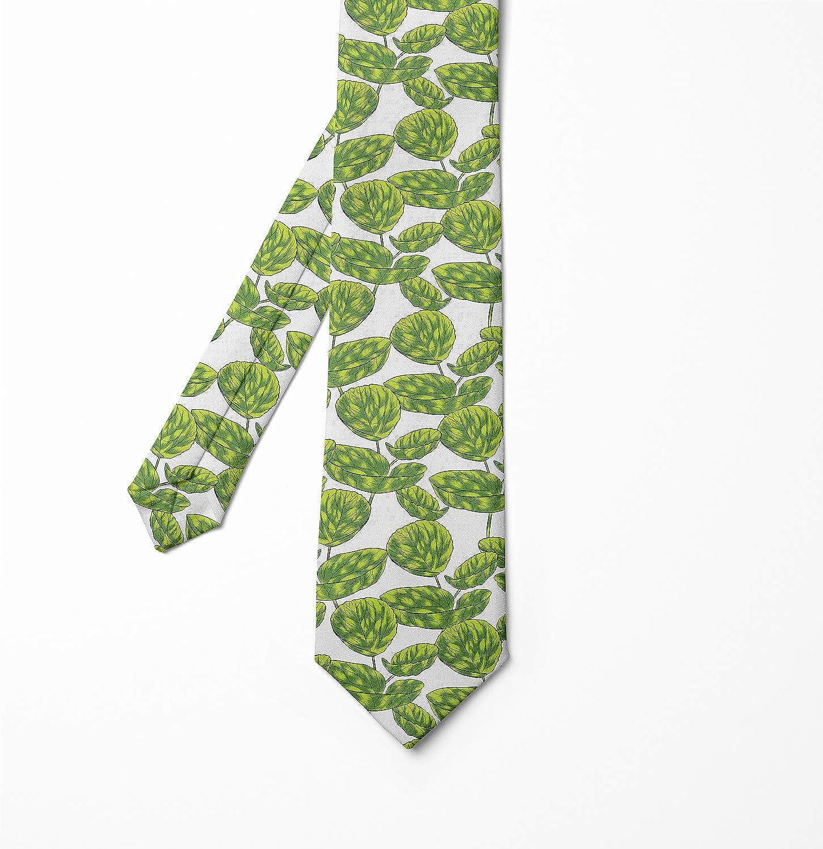 Green Dark Green Tropical Plants Warm Season Ambesonne Necktie 3.7