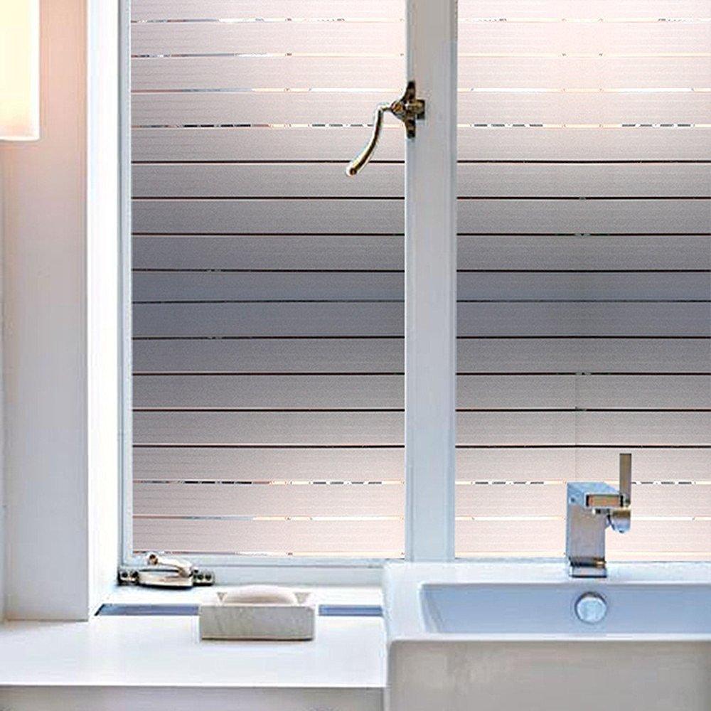 OMG _ Shop粘着リムーバブル防水FrostedストライプStatic Cling Windowsガラスフィルムステッカープライバシー 45x100cm(17.7x39.4inch) D4102-K-CN-LJ1 B071QXJW2Q  White stripes 45x100cm(17.7x39.4inch)