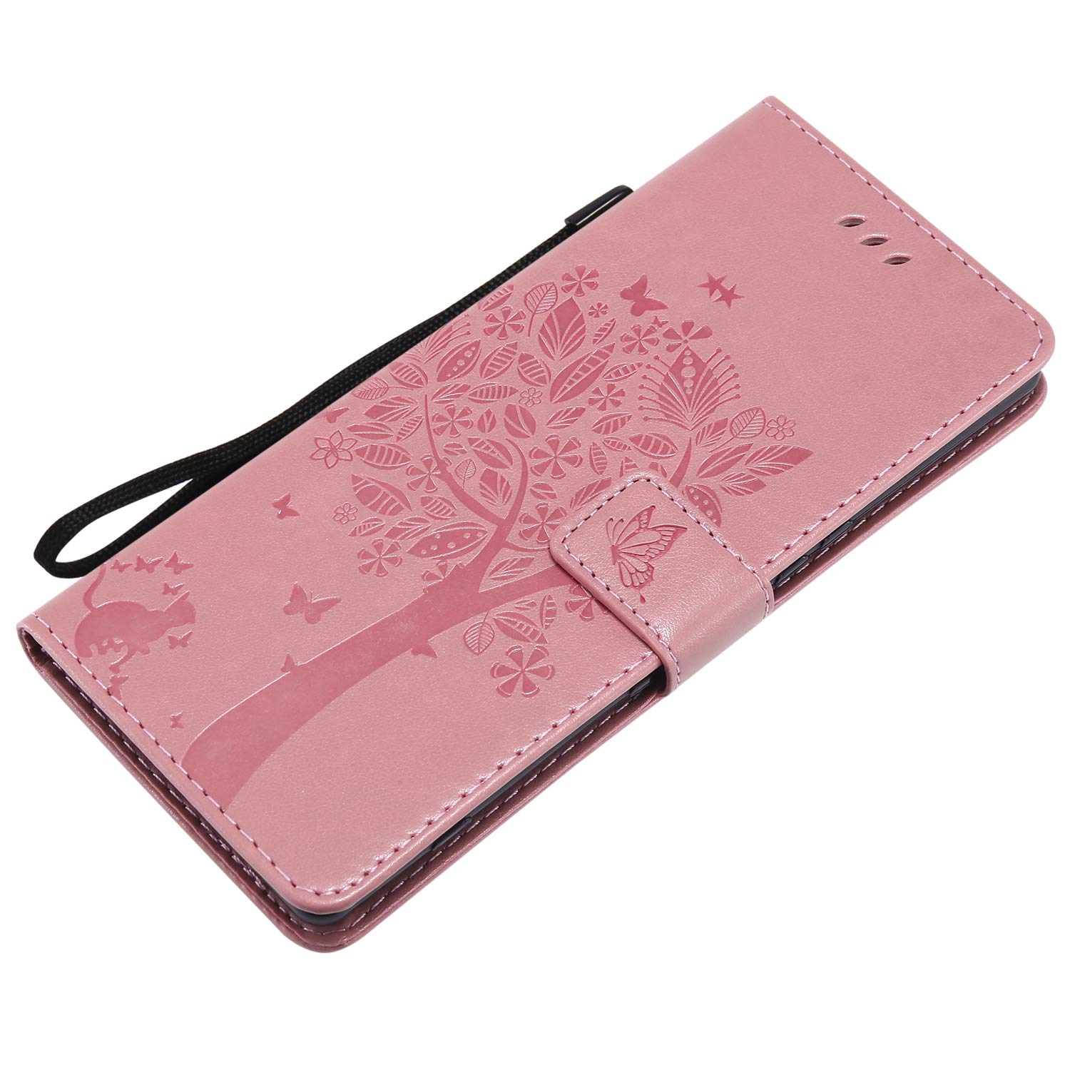 SKYXD 3D Vintage Embossed Love Tree Cat Butterfly Pattern Premium PU Leather Flip Wallet Case for Sony XZ4 Creative Embossing Floral Flower Purse Cover with Wrist Strap Light Purple