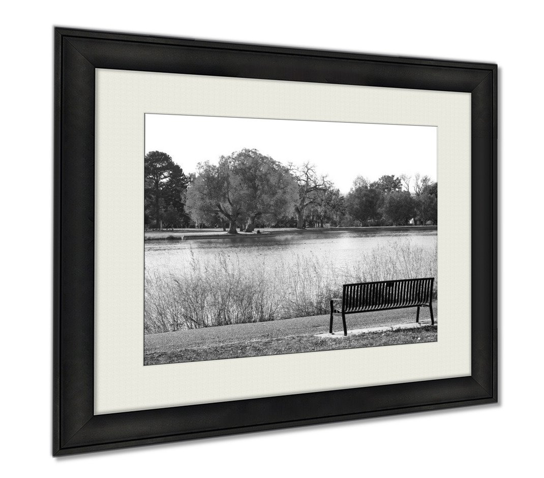 Ashley Framed Prints Green Tree In Black And White Landscape Scene With An Empty Park, Wall Art Home Decoration, Black/White, 30x35 (frame size), AG6384220