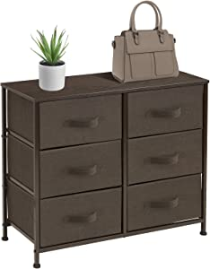 Sorbus Dresser with 6 Drawers - Furniture Storage Tower Unit for Bedroom, Hallway, Closet, Office Organization - Steel Frame, Wood Top, Easy Pull Fabric Bins (6 Drawer - Brown)