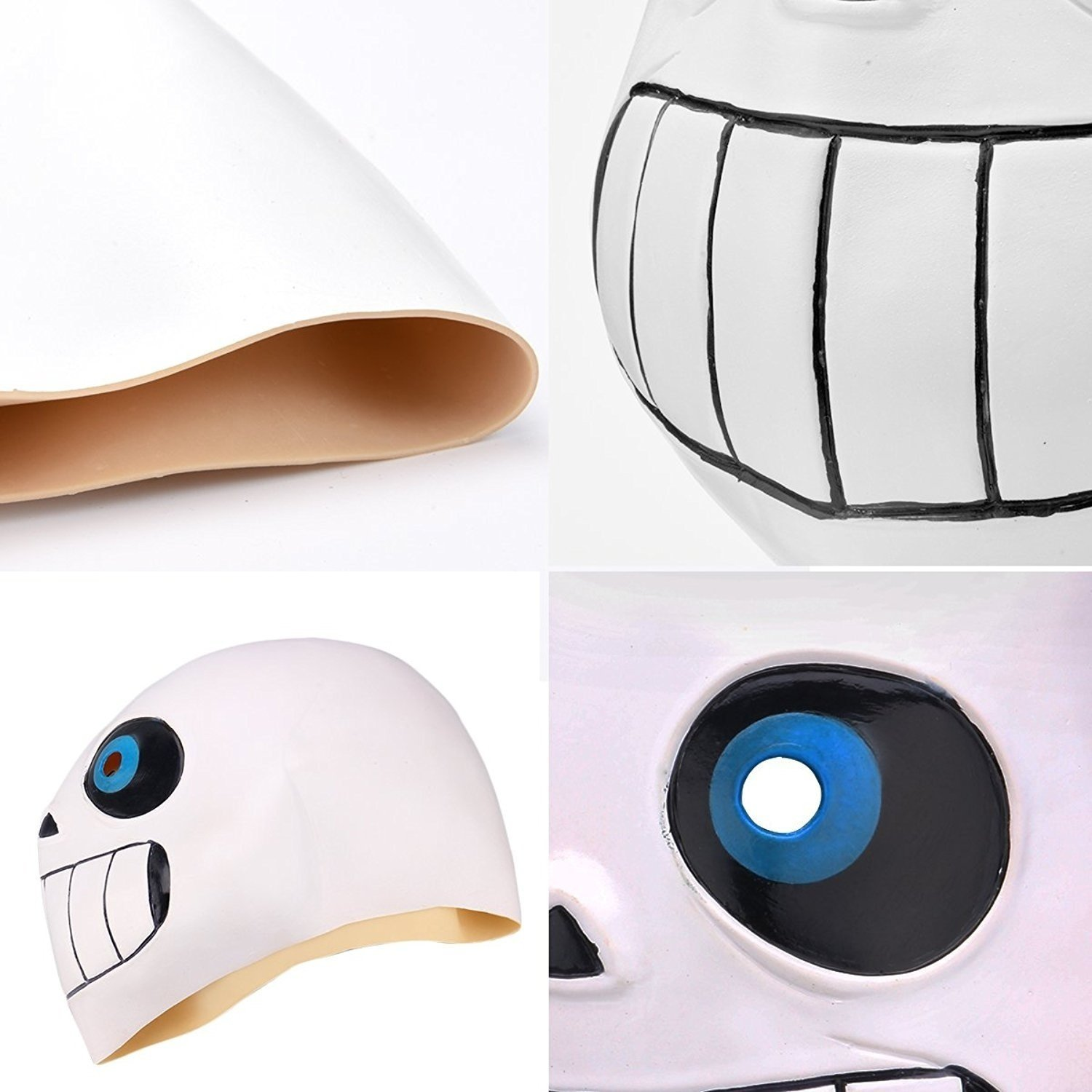 Mask-Novelty Latex Halloween Cosplay Costume Sans with Blue Eye for Kids