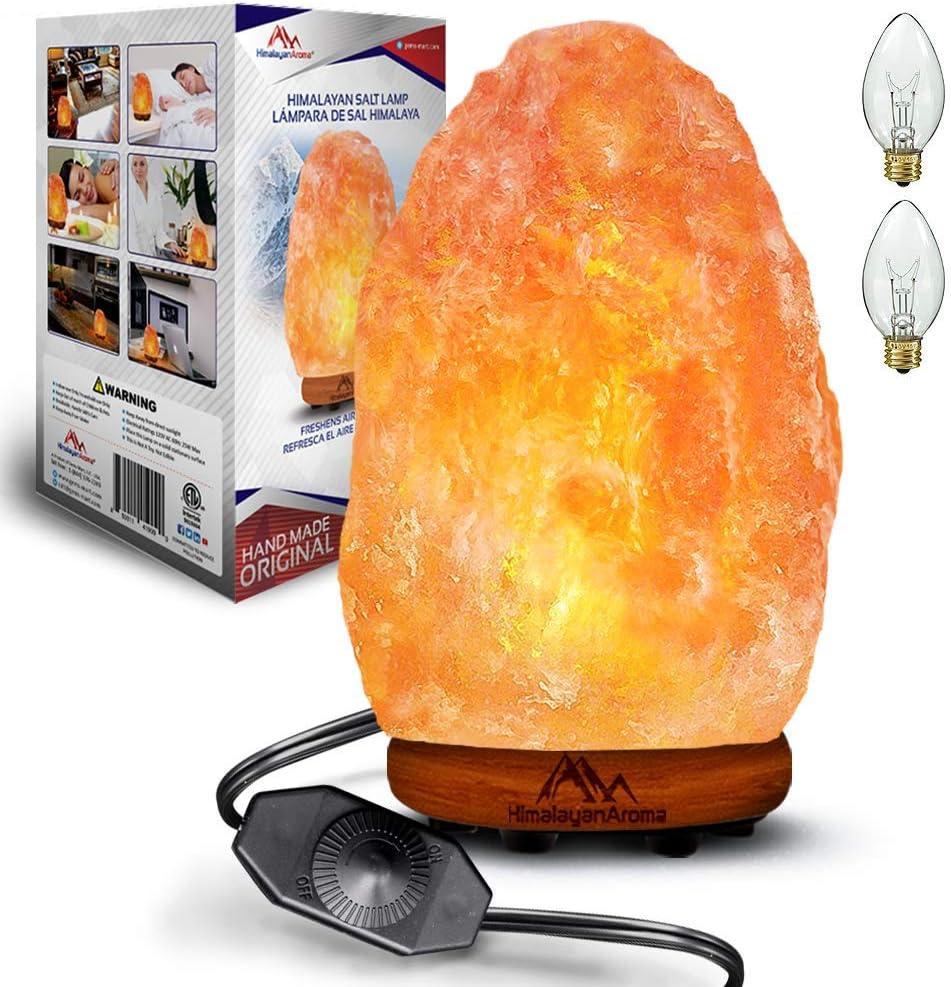 Natural Himalayan Pink Salt Lamp, Salt Rock Lamp, Himalayan Lamp, Sea Salt Lamp, Handmade, Night Light, Dimmer Switch, Wood Base, Gift Lamp, Home Décor, ETL Certified, 2 Bulbs, 7-9 lbs
