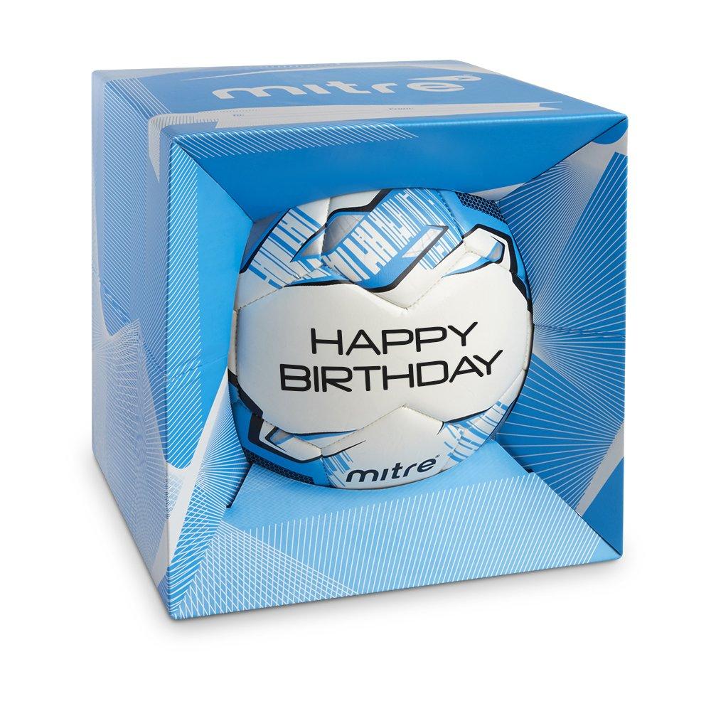 Mitre Fußball, personalisierbar, Weiß Weiß Weiß Cyan Silber Happy Birthday, Größe 5 B01C5PWG2C Trainingsblle Verrückter Preis 19d675