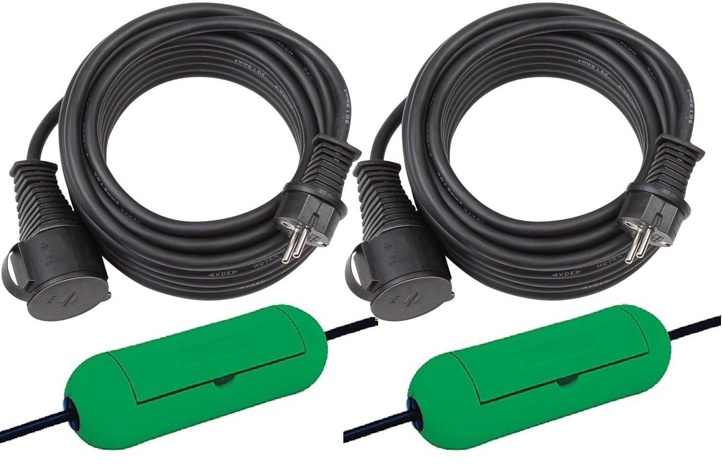 Brennenstuhl Cable alargador con conectores hembra y macho y tapa de seguridad (5 m), color negro 1161420