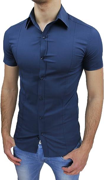 A proposito ie avere  AK collezioni Camicia Uomo Slim Fit Blu Aderente Elasticizzata Manica Corta  Casual: Amazon.it: Abbigliamento